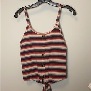 Multicolored tank top with tie